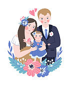 Vector illustration for the international family day or wedding invitation. Happy parents and their baby.