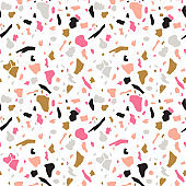Terrazzo seamless pattern. Vector abstract background with chaotic stains. Collage design in gold, black and magenta colors.