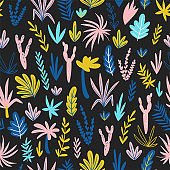 Hand drawn seamless pattern with wild tropical rainforest. Tropic vector repeating background. Simple design.