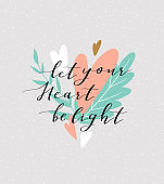 Love background with stylish lettering 'Let you heart be light' on the cute background. Stylish vector valentines day greeting card.