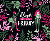 Black Friday inscription with tropical leaves and fashion young women. Vector design template. Black Friday sale banner.
