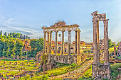 Roman Forum: The Temple of Saturn  and the Temple of Vespasian and Titus