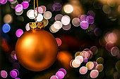 Christmas ball on bokeh background