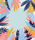 Tropical leaves. Vector frame in scandinavian style. Hand drawn background. Poster in orange and blue colors with place for text.