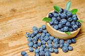 Freshly picked blueberries in wooden bowl.Bilberry on wooden Background. Blueberry antioxidant.Concept for healthy eating and nutrition.