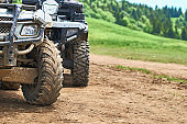 Quadricycles or quadbikes in the summer mountains
