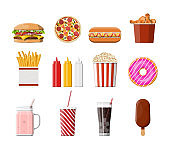 Fast food icons set.