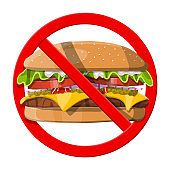 No fast food allowed. Ban burger symbol.