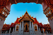 Wat Benchamabophit, the Marble temple Bangkok is famous travel landmark for tourist at dusk.