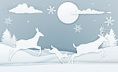 Winter Deer Scene Paper Art