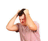 Young rapper man frustrated and desperate. angry and sad boy with hands on head . emotional man isolated on white background
