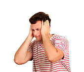 Sad man with hands on head. emotional man isolated on white background