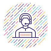 Customer Service Representative Line Icon Illustration