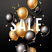 Sale banner with black and gold floating balloons