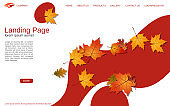 Website autumn style landing page vector design template