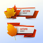Set of banners with autumn leaves