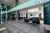 Departure hall in airport terminal