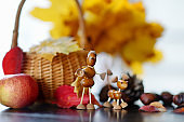 Creatures made from chestnuts and acorns,