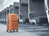 Travel suitcase at the airplane. 3d rendering