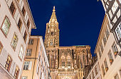 Night View of Strasbourg Cathedral behind sky with stars