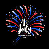 Happy Independence day design with fireworks