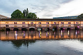 Night View of Vauban Dam in Strasbourg France