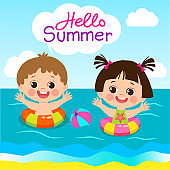 The Beach In Summer Time. Fun Summer Activities For Kids. Summer Kids Vector. Happy Children Playing On The Beach.