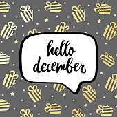 Hello december poster. Vector hand drawn illustration