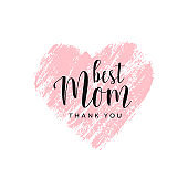 Vector card for Mother's day with brush heart