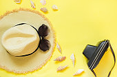 Straw beach foman's hat, black sun glasses with retro camera on yellow background. Top view. Flat lay. Space for text. Travel concept.