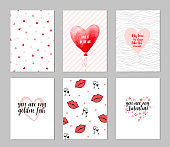 Set of cards for valentine's day. February 14