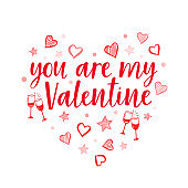 Vector red lettering for Valentine's day on white. Greeting romantic card