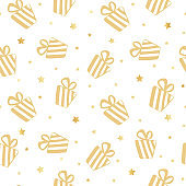Seamless pattern with gift boxes and stars