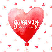 Giveaway poster, card for Valentine's Day