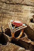 Jewelry ring with ruby and diamonds
