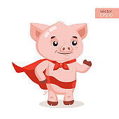 Superhero Pig Cartoon Mascot Character Vector Illustration. Symbol Of The Chinese New Year.