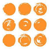 Round paint brush stroke vector set