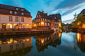 Night View of Petite France District in Strasbourg
