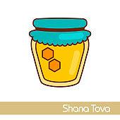 Jar of honey. Rosh Hashanah icon. Shana tova