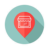 Supermarket store front pin map icon