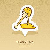 Honey dipper. Rosh Hashanah icon. Shana tova
