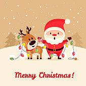 Santa Claus illustration and banner