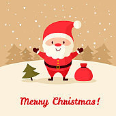 Santa Claus with bag of gifts and Christmas tree