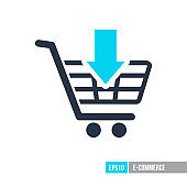 Shopping cart with an arrow icon