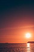Sunset over the rocky Croatian coast