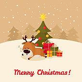 Santa deer sleeps under Christmas tree with gifts