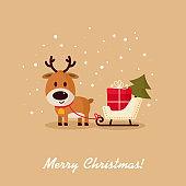 Deer Santa with sleigh, gift and Christmas tree