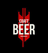 Modern craft beer drink vector logo sign for bar, pub or brewery, isolated on dark background.