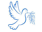 Dove with a symbol of peace