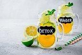 Infused detox water lemonade with orange, lemon and lime.
